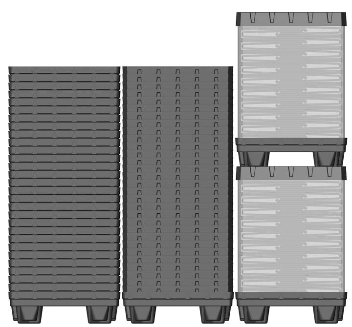 Box TP Conteneur plastique 800x600 mm sistème de retour   Ribawood
