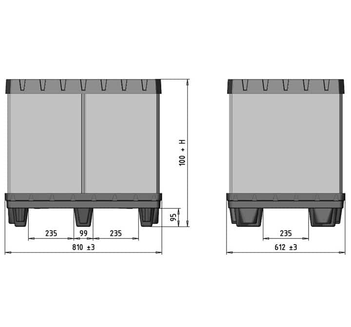 Box TP Conteneur plastique 800x600 mm cotes schéma   Ribawood