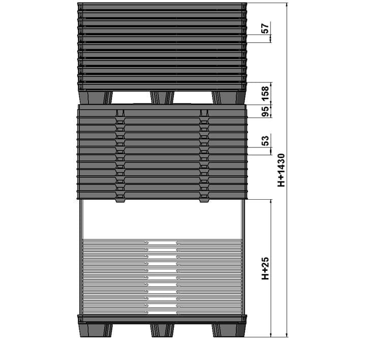 BOX TP CONTENEUR 1200x800 ou 1200x1000 9 pieds ou 3 semelles système retour standard
