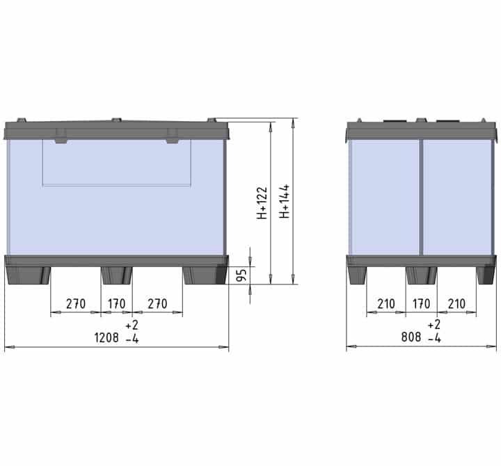 BOX TP CONTENEUR 1200x800 9 pieds ou 3 semelles schéma