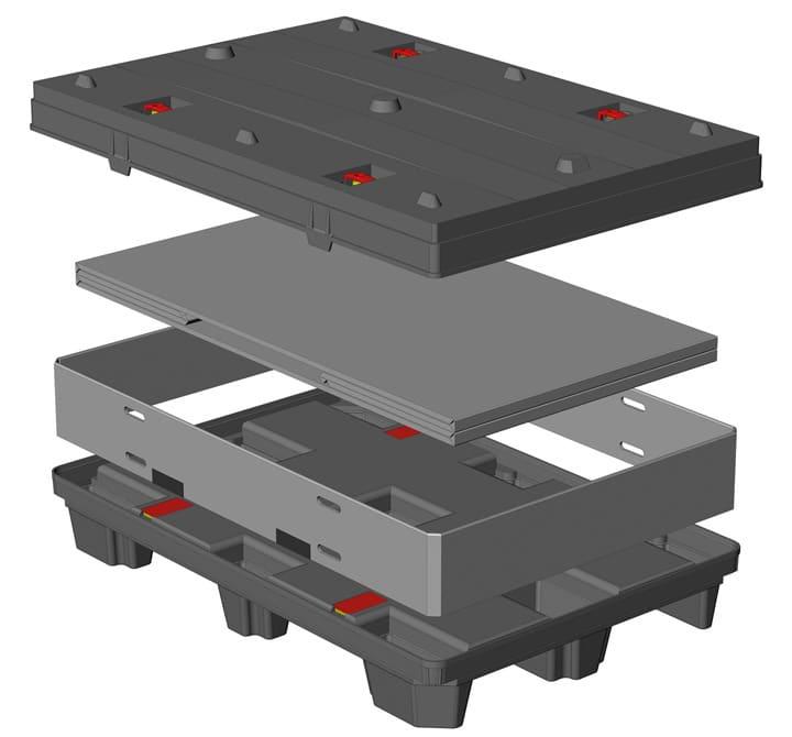 BOX TP CONTENEUR 1200x800 9 pieds ou 3 semelles système sandwich