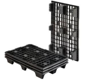 Palette plastique one way-emboîtable. REP 1200x800 9PIEDS AJOURÉE. Palette noire.